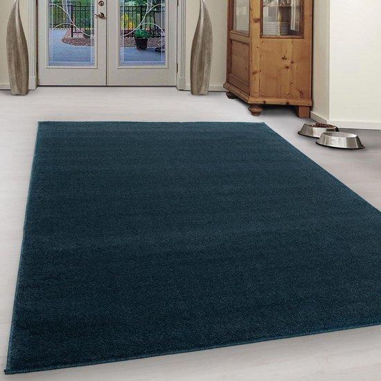 Laagpolig Effen vloerkleed Blauw - 60x110 CM