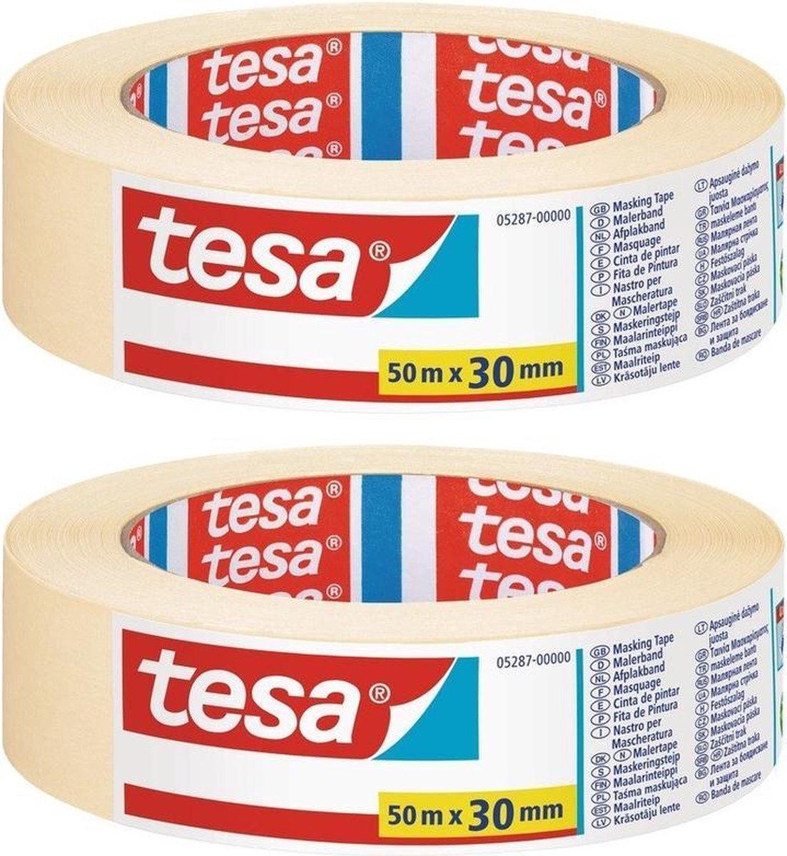 Set van 2x Afplaktape/schilderstape 30 mm x 50 m - Verf afplakband/tape - Maskeertape - Tesa Masking