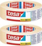 Set van 2x Afplaktape/schilderstape 30 mm x 50 m - Verf afplakband/tape - Maskeertape - Tesa Masking tape