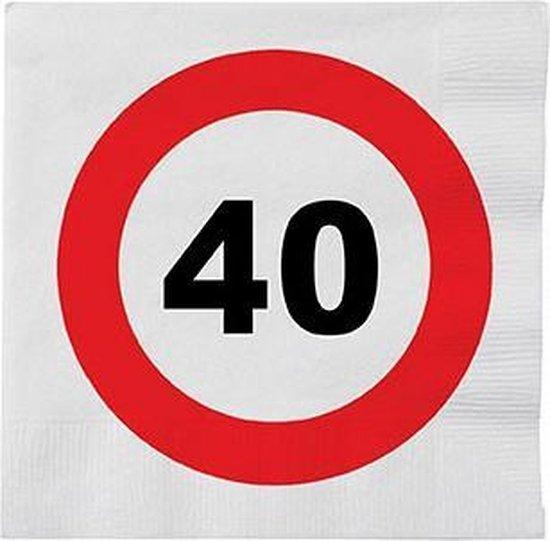 48x 40 jaar leeftijd themafeest servetten verkeersbord 33 x 33 cm - 40e verjaardag papieren wegwerp tafeldecoraties