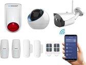 Draadloos alarmsysteem voor woning met binnen en- buitencamera - Beveiligingssysteem zonder abonnement - Pro pakket - Volledige huisbeveiliging