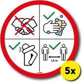 Waarschuwing sticker Corona virus (5x) 18x18cm