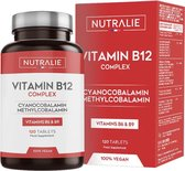 Vitamine B12 2000mcg Cyanocobalamine en Methylcobalamine | Hoge Potentie Zonder Toevoegingen | Complex met Vitamine B9 (foliumzuur) en B6 | 120 Vegan Tabletten