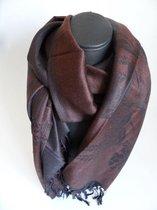 Mooie hippe sjaal bloemen lengte 180 cm breedte 70 cm kleuren bruin zwart franjes.