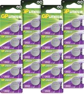GP Extra Lithium batterijen CR2032 3V knoopcel batterij - 20 stuks