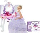 Luxe Make Up Tafel Met Licht & Geluid - Prinses Dressing Table - 3 Spiegels - Visagie Toilettafel Kaptafel Stoel Kruk - Opmaaktafel - Roze/Blauw