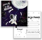 uitnodiging - kinderfeest - astronaut - maan - Galaxy - feest - 10 stuks