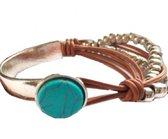Armband- Bruin- Turquoise- Leer- Dames- Metaal