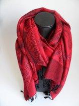 Mooie hippe sjaal figuren lengte 180 cm breedte 70 cm kleuren rood zwart franjes.