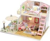 DIY Roze poppenhuis met LED - Dollhouse - Miniatuur hobby bouwpakket