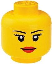 Lego Hoofd Girl Opbergbox - Groot - Geel