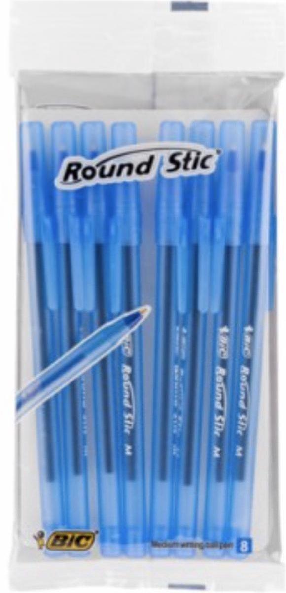 Balpen BIC Round Stic M blauw - 8 stuks