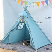 Speeltent Tipi Tent voor Jongens en Meisjes - Speelhuis Wigwam voor Kinderen met Wolk Kussen en Vlaggetjes – 135x110 cm - Blauw