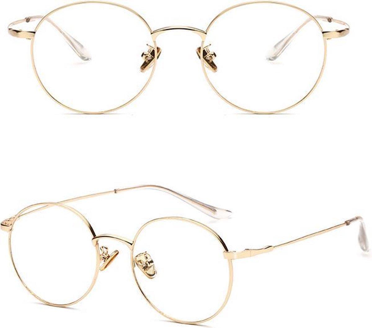Merchannice Computerbril Harris - Blauw licht bril - Goud