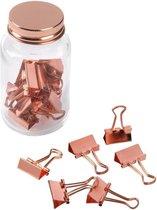 Koperen documentenklemmen/clips in glazen pot - 20 stuks - Bureau/kantoorbenodigdheden - Kantoor artikelen - Papierclips/klemmen