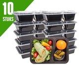Meal Prep Bakjes Vershouddoos - 10 stuks - Met 2 Compartimenten - Herbruikbaar - Zwart