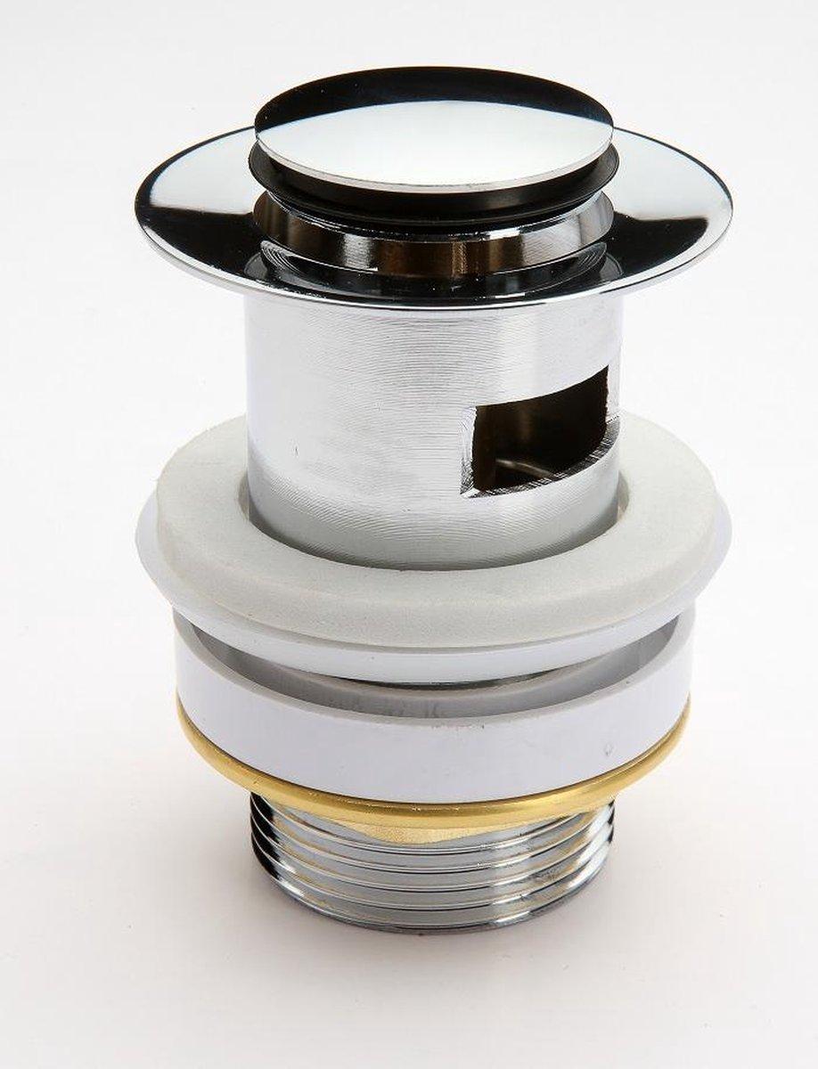 """SCHÜTTE Design Afvoerplug Pop-Up - 5/4"""" - afsluitbaar met overloop - Chroom"""