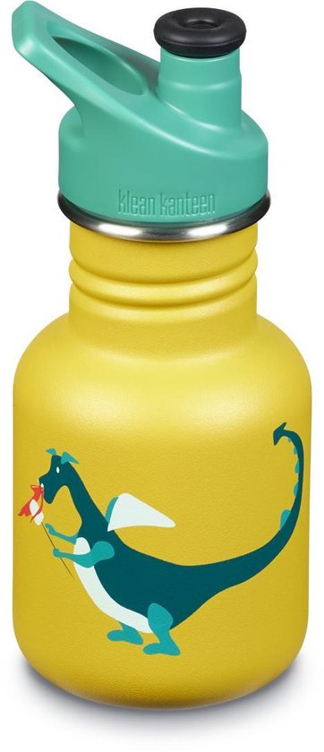 Klean Kanteen Drinkfles Sippy Kid sport cap - Dragon Snack/ RVS - 355 ml