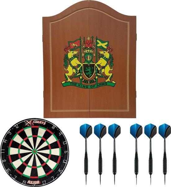 Dragon darts - houten - dartbord kabinet - starterpack - inclusief dartbord en dartpijlen - King of Arms - lichtbruin - inclusief - sisal - dartbord - en 2 sets - dartpijlen