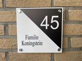 naambordje voordeur driehoek wit