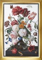 Thea Gouverneur - Borduurpakket met telpatroon - 785 - Voorgesorteerde DMC Garens - Stilleven met bloemen in een glazen vaas. Jan Davidsz. de Heem. 1650 - 1682 - Linnen - 72 cm x 49 cm - DIY Kit
