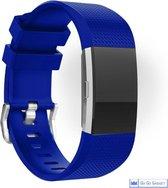 Horloge band | geschikt voor de Fitbit Charge 2 | siliconen sport armband| activity tracker | blauw | large