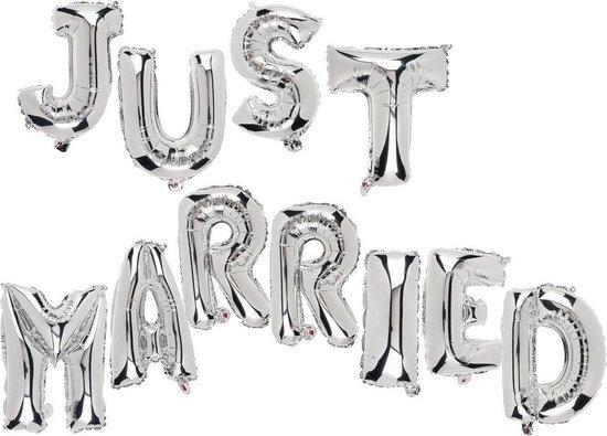 Just married ballonnen folieballon getrouwd versiering zilverfolieballon decoratie huwelijk bruiloft