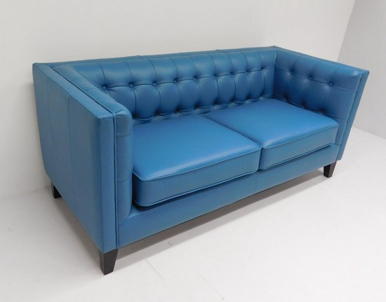 Blauwe Design Bank.Bol Com Strakke Design 3 Zits Bank Modular Blauw Rundleder