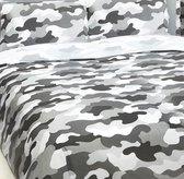 2 persoons dekbedovertrek legerkleuren camouflage grijs