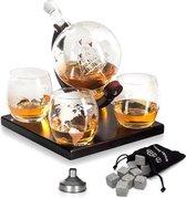 Luxe Whiskey Karaf Set - Wereldbol Decanteerkaraf - 8 Whisky Stones - 4 Glazen