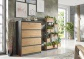 Pro-meubels - Ladekast - Ribera - 4 Lades - 70cm - Antraciet - Eiken - Commode