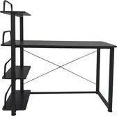 Bureau computertafel - 3 opbergplanken - metaal hout - zwart - 120 cm breed