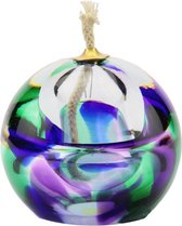 "Glazen urn. Asbestemming. ""Olielampje"" paars-groen-blauw. 8 cm hoog."