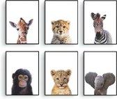 Postercity - Design Canvas Poster Jungle Set Baby Aapje, Zebra, Giraffe, Olifant, Cheeta en Tijger / Kinderkamer / Dieren Poster / Babykamer - Kinderposter / Babyshower Cadeau / Muurdecoratie / 30 x 21cm / A4