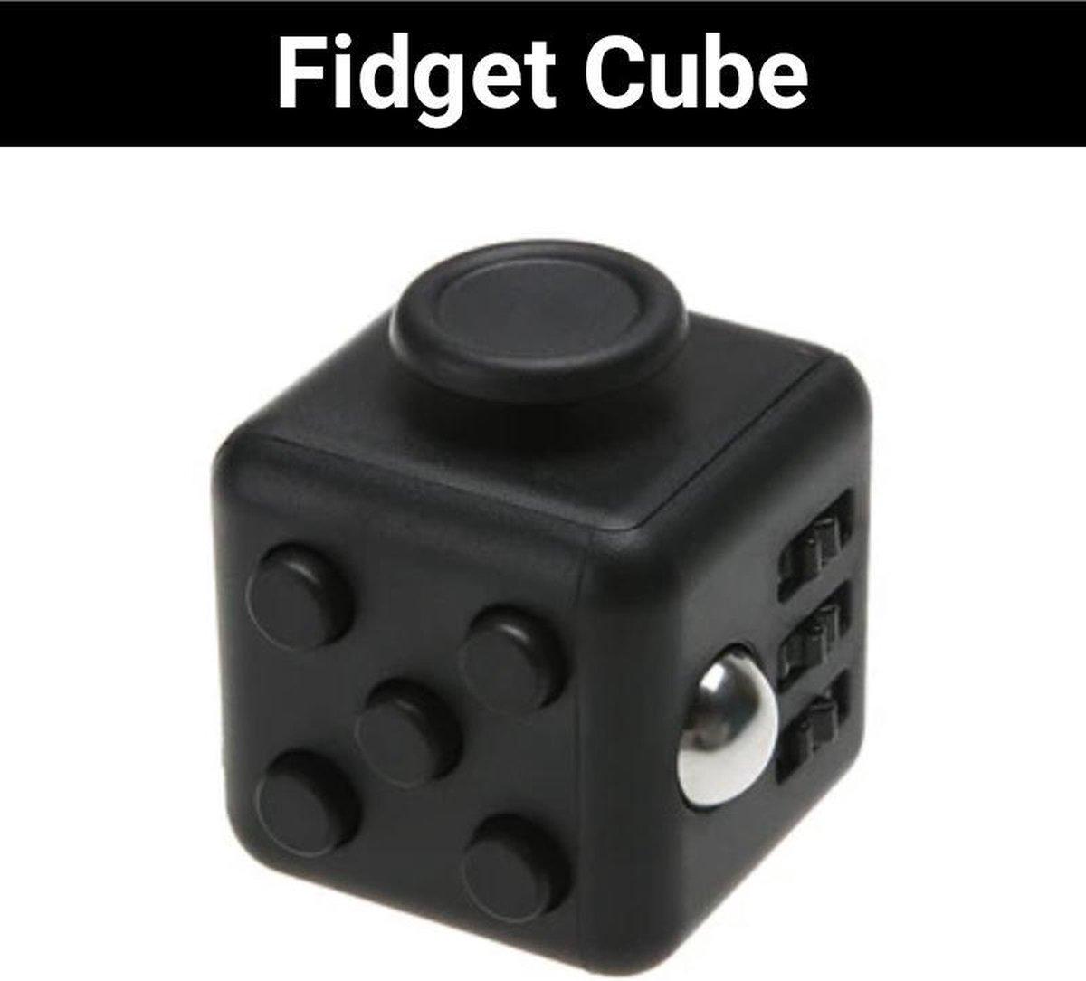 """Fidget Cube """"Zwart"""" - Friemelkubus - Anti Stress Speelgoed - Hoogsensitiviteit - Stressbal voor Hand"""