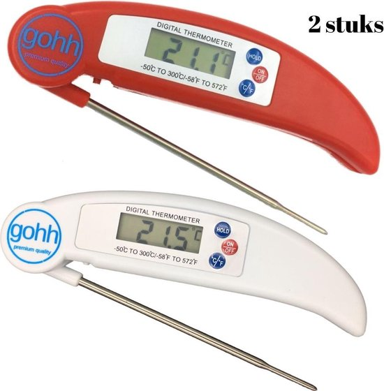 Gohh® 2 Digitale Vleesthermometers (van -50°C tot 300°C) 1 x Wit - 1 x Rood
