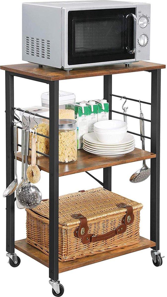 Keukenrek op Wielen - 3 Niveaus - Trolley Keuken Kast voor Microgolfoven - 6 Haken - 89 x 60 x 40 -