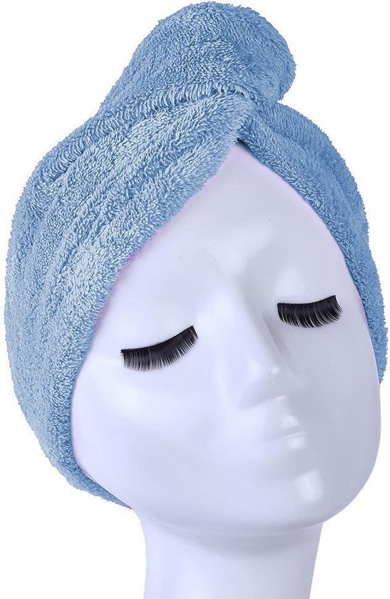 Blauwe Microvezel Handdoek Droogt Uw Natte Hoofdhaar 7x Sneller – Blauw | Absorberende Voorgevormde Hoofdhanddoek Geschikt Voor Drogen van Kort en Lang Kapsel | Haartulband Voor Snel Opdrogen van Nat Haar Na het Douchen of Baden | Haarwikkels