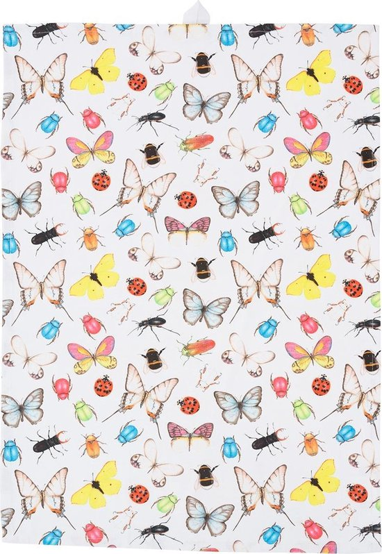 by Sorcia - theedoek Insects & Butterflies - 50x70cm - katoen - designed in Holland