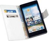 HC Bookcase Flip Wallet Hoesje Huawei Ascend G700 Wit