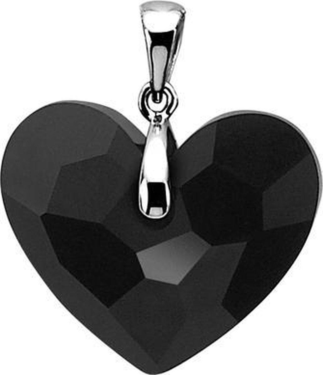 Zinzi zilveren hart hanger Swarovski zwart ZIH859Z - Zinzi
