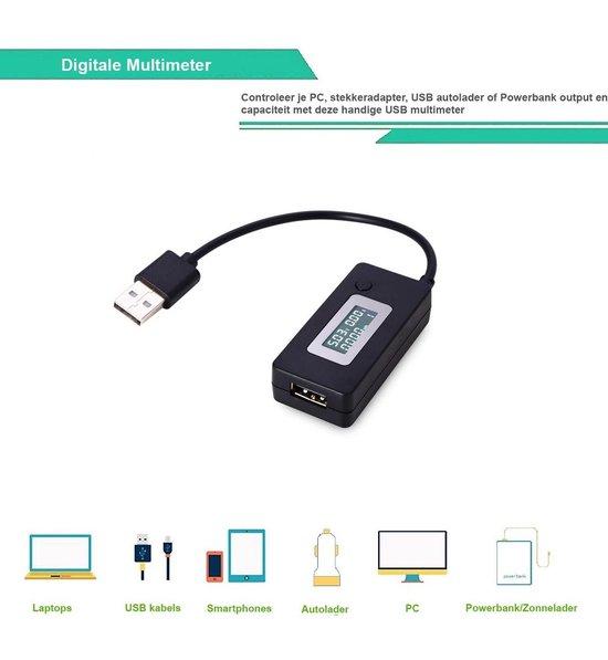 USB Hub Multimeter Ampèremeter Voltage detector met LCD Scherm