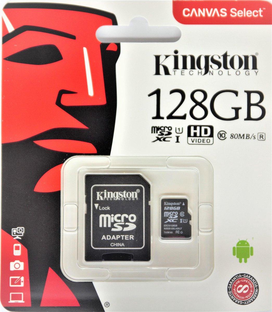 Kingston Micro SD kaart Canvas 128 GB + SD Adapter (HD video- 80MB/S/R)