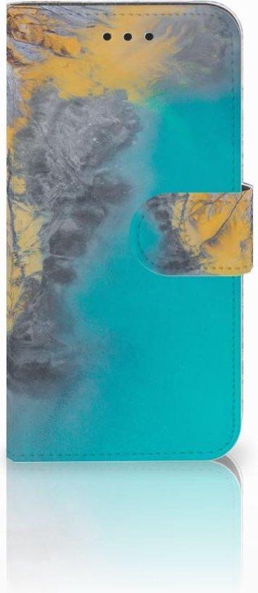 Bookcase Hoesje Samsung Galaxy S6 Edge Design Marble Blue Gold