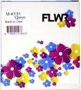 FLWR - Printetiket / MK-131 / Zwart op Wit - geschikt voor Brother