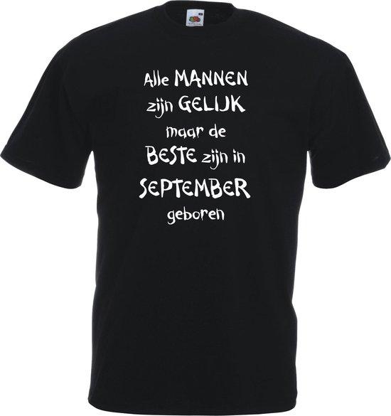 Mijncadeautje - T-shirt - zwart - maat 3XL- Alle mannen zijn gelijk - september