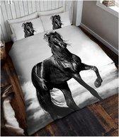 Zwart Paard 1 persoons dekbedovertrek, Paarden dekbed