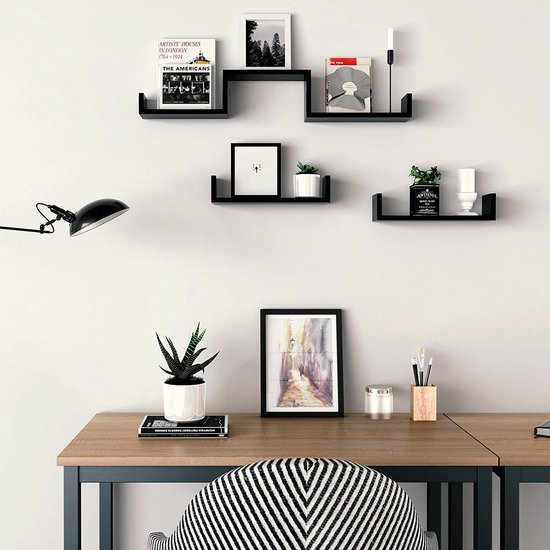 Zwevende Blinde Muurplank Set - Wand / Muur Foto Boekenplank - Zwevend Hoogglans Zwart