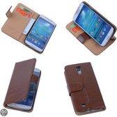 PU Leder Bruin Hoesje Samsung Galaxy S4 Book/Wallet Case/Cover