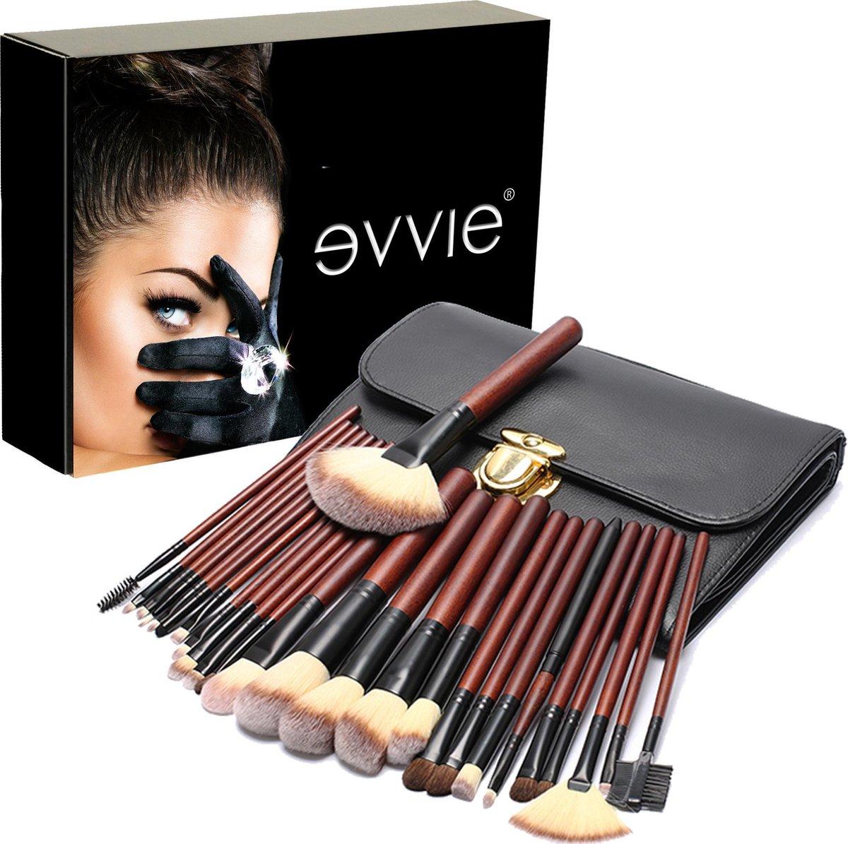 Evvie professionele 26-delige make-up kwasten set Deluxe - Evvie